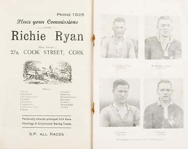 Munster Minor and Senior Hurling Championship Final,.25.07.1937, 07.25.1937, 25th July 1937,.25071937MSMHCF,...Richie Ryan, place your commisions, 27a Cook St Cork,..J Lanigan Captain Tipperary. M Mackey Captain Limerick. J Cooney Tipperary. P Scanlon Limerick,
