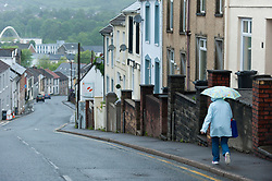 © Licensed to London News Pictures. 08/06/2017. Merthyr Tydfil, Mid Glamorgan, Wales, UK. Damp and drizzly weather in the old mining town of Merthyr Tydfil as the polling tations open at 7.00am on the day of the general election in Wales, UK. Photo credit: Graham M. Lawrence/LNP