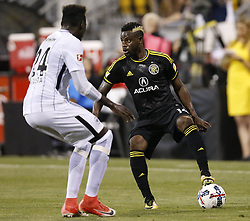 July 17, 2017 - Columbus, OH, USA - Columbus Crew defender Waylon Francis (14) keeps up with Eintracht Frankfurt's Danny da Costa (24) in the second half of their match at Mapfre Stadium on July 17, 2017 in Columbus, Ohio. (Credit Image: © Brooke Lavalley/TNS via ZUMA Wire)