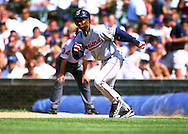 CHICAGO - 1998:  Ken Lofton of the Cleveland Indians attempts to steal second base during an MLB game versus the Chicago Cubs at Wrigley Field in Chicago, Illinois.  Lofton played for the Indians from 1992-1996 and 1998-2001.  (Photo by Ron Vesely)