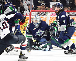 Rylan Toth of the Seattle Thunderbirds in Game 3 of the 2017 MasterCard Memorial Cup against the Windsor Spitfires on Sunday May 21, 2017 at the WFCU Centre in Windsor, ON. Photo by Aaron Bell/CHL Images