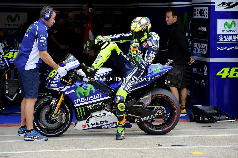 29.08.2014.  Silverstone, England. MotoGP. British Grand Prix.Valentino Rossi (Movistar Yamaha Team) during the free practice sessions.
