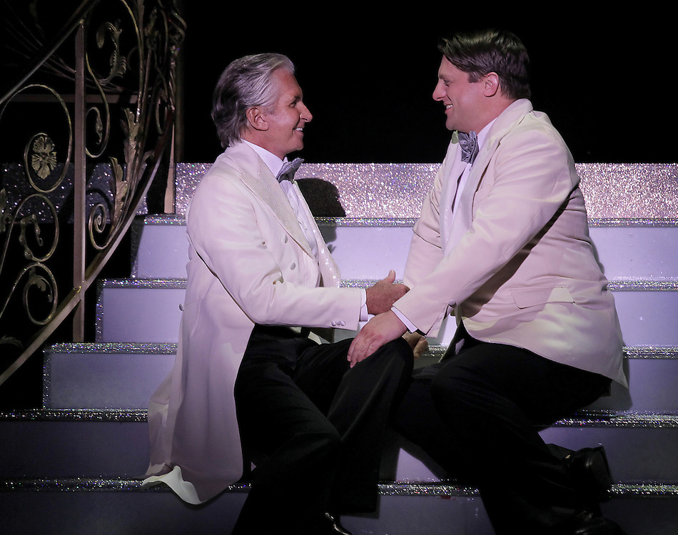 George Hamilton  and Christopher Sieber in.La Cage aux Folles .National Tour.Act II.Credit Photo: Paul Kolnik.studio@paulkolnik.com.nyc 212-362-7778...