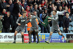 Rotherham United's Kieran Agard celebrates scoring his goal - Photo mandatory by-line: Joe Dent/JMP - Mobile: 07966 386802 22/03/2014 - SPORT - FOOTBALL - Peterborough - London Road Stadium - Peterborough United v Rotherham United - Sky Bet League One
