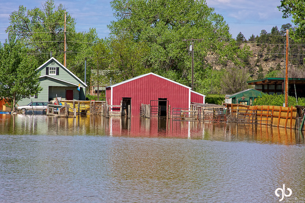Flooded farm house in Roundup, Montana during the Spring of 2011.