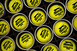 Detail of Slazenger Tennis balls in tins on day six of the Wimbledon Championships at the All England Lawn Tennis and Croquet Club, Wimbledon. PRESS ASSOCIATION Photo. Picture date: Saturday July 7, 2018. See PA story TENNIS Wimbledon. Photo credit should read: John Walton/PA Wire. RESTRICTIONS: Editorial use only. No commercial use without prior written consent of the AELTC. Still image use only - no moving images to emulate broadcast. No superimposing or removal of sponsor/ad logos. Call +44 (0)1158 447447 for further information.