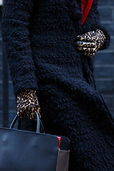 © licensed to London News Pictures. London, UK 14/01/2014. Home Secretary Theresa May's leopard print gloves pictured whilst leaving Downing Street after a cabinet meeting on Downing Street on Tuesday, 14 January 2014. Photo credit: Tolga Akmen/LNP