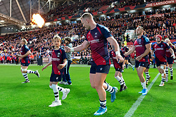 Will Hurrell and the rest of the Bristol Bears team run onto the field - Mandatory byline: Patrick Khachfe/JMP - 07966 386802 - 18/10/2019 - RUGBY UNION - Ashton Gate Stadium - Bristol, England - Bristol Bears v Bath Rugby - Gallagher Premiership