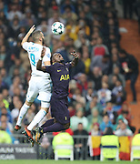Karim Benzema against Serge Aurier during the Champions League match between Real Madrid and Tottenham Hotspur at the Santiago Bernabeu Stadium, Madrid, Spain on 17 October 2017. Photo by Ahmad Morra.