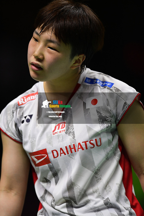 BANGKOK, THAILAND - MAY 26: Akane Yamaguchi of Japan reaction on Court 1 during her Uber Cup Finals match against Ratchanok Intanon of Thailand at the BWF Total Thomas and Uber Cup Finals 2018, Impact Arena , Bangkok, Thailand on May 26, 2018.<br /> .<br /> .<br /> .<br /> Photo by: Naratip Golf Srisupab/SEALs Sports Images<br /> <br /> .<br /> All photo must include a credit line adjacent to the content: Naratip Golf Srisupab/SEALs Sports Images