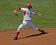 Georgia's Rip Warren pitched 1.2 innings, giving up one run on two hits against Oregon State.  Oregon State eliminated Georgia with a 5-3 win at the College World Series at Rosenblatt Stadium in Omaha, Nebraska, June 19, 2006.