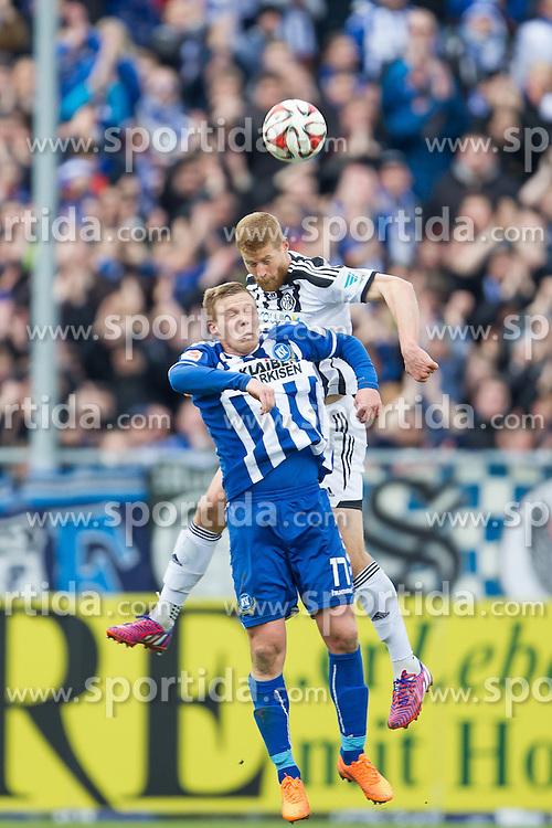 05.04.2015, Scholz Arena, Aalen, GER, 2. FBL, VfR Aalen vs Karlsruher SC, 27. Runde, im Bild Rouwen Hennings ( Karlsruher SC ) im Kopfballduell gegen Andre R. Hainault ( VFR Aalen) // during the 2nd German Bundesliga 27th round match between VfR Aalen and Karlsruher SC at the Scholz Arena in Aalen, Germany on 2015/04/05. EXPA Pictures &copy; 2015, PhotoCredit: EXPA/ Eibner-Pressefoto/ Bozler<br /> <br /> *****ATTENTION - OUT of GER*****