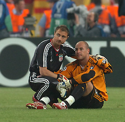 Athens, Greece - Wednesday, May 23, 2007: Liverpool's goalkeeper Jerzy Dudek and goalkeeper Jose Reina look dejected after losing 2-1 to AC Milan during the UEFA Champions League Final at the OACA Spyro Louis Olympic Stadium.  (Pic by Jason Roberts/Propaganda)