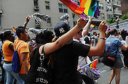 Young people marching in the 2008 New York Pride Parade in support of Gay Rights.