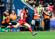 Scarlets' Leigh Halfpenny kicks up-field<br /> <br /> Photographer Simon King/Replay Images<br /> <br /> Guinness PRO14 Round 19 - Scarlets v Glasgow Warriors - Saturday 7th April 2018 - Parc Y Scarlets - Llanelli<br /> <br /> World Copyright © Replay Images . All rights reserved. info@replayimages.co.uk - http://replayimages.co.uk