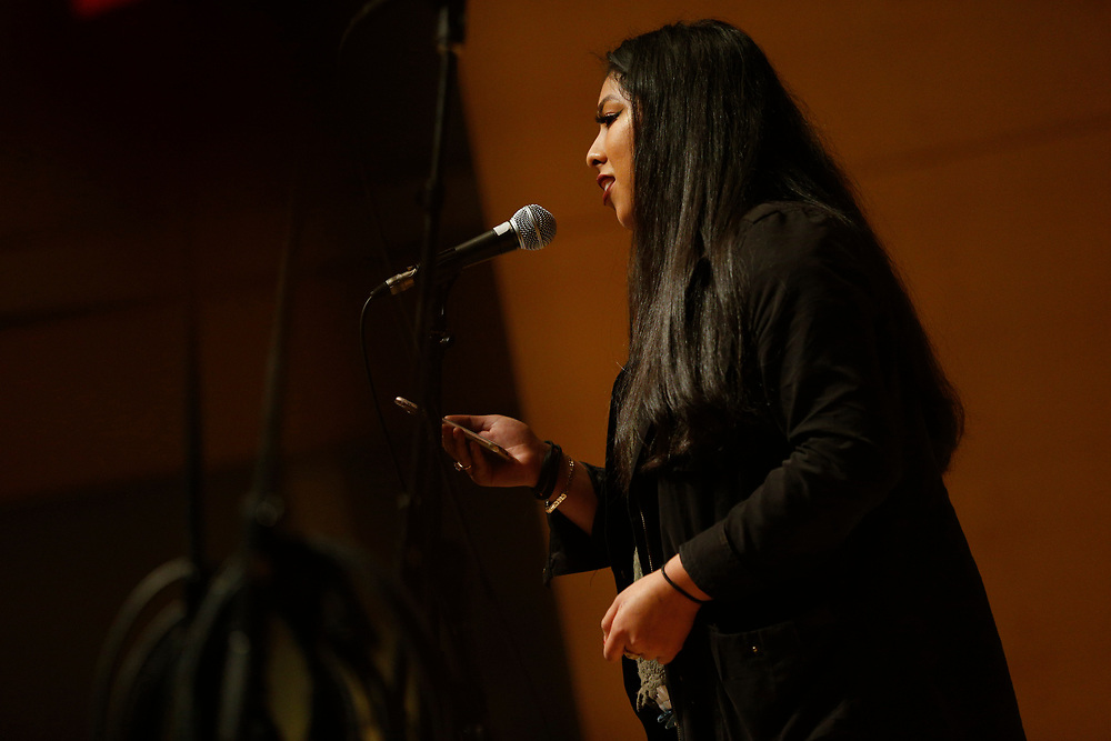 Nayeli Cuiriz Galvan rehearses her spoken-word poetry at the San Francisco Public Library's Koret Auditorium, Saturday, Jan. 6, 2018, in San Francisco, Calif. Youth Speaks will be putting on its annual Bringing the Noise event, which commemorates Martin Luther King, Jr. through performances of spoken-word poetry. This year marks both the 20th anniversary of the Bringing the Noise event and the 50th anniversary of MLK's assassination.