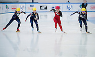 (L-R) Noh Do Hee (54) & Kong Sangjeong (53) both of South Korea & Han Yutong (17) of China & Kim Alang (52) of South Korea compete in the Women's 1000 Meters on day three of the 2013 ISU Short Track Speed Skating Junior World Championships at Torwar Ice Hall on February 24, 2013 in Warsaw, Poland...Poland, Warsaw, February 24, 2013...Picture also available in RAW (NEF) or TIFF format on special request...For editorial use only. Any commercial or promotional use requires permission...Photo by © Adam Nurkiewicz / Mediasport