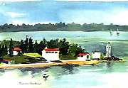 "Brown's Point Lighthouse Landscape. Tacoma, WA. Watercolor. 10x14"". ©JoAnn Hawkins."