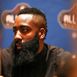 Feb 17, 2017; New Orleans, LA, USA; Western Conference All Star Jame Harden during the All Star media availability at the Ritz Carlton. Mandatory Credit: Derick E. Hingle-USA TODAY Sports
