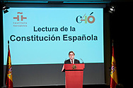 Luis Garcia Montero, Cervantes Institute Director attends the reading of the Spanish Constitution in occasion of the 40th anniversary of its approval by the Congress at the Cervantes Institute on October 31, 2018 in Madrid, Spain