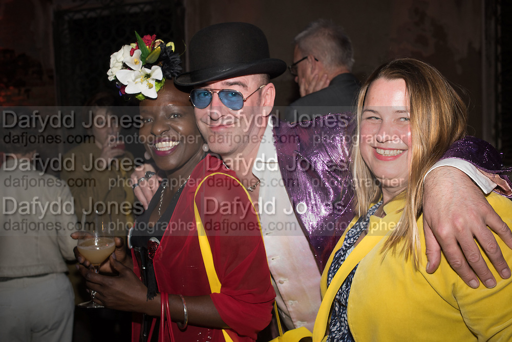 MILLY LAWS; PHIL DIRTBOX, Sarah Lucas- Scream Daddio party hosted by Sadie Coles HQ and Gladstone Gallery at Palazzo Zeno. Venice. 6 May 2015.