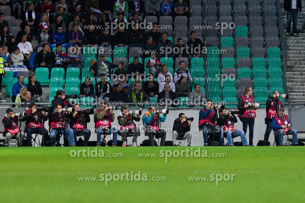 Photographers during the EURO 2016 Qualifier Group E match between Slovenia and Lithuania, on October 9, 2015 in SRC Stozice, Ljubljana Slovenia. Photo by Urban Urbanc / Sportida