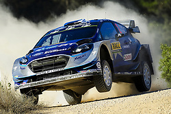 October 6, 2017 - Salou, Catalonia, Spain - The Estonian driver Ott Tnak and his co-driver Martin Jrveoja of M-Sport, jumping with his Ford Fiesta WRC, during the Rally Racc Catalunya Costa Daurada, on October 6, 2017 in Salou, Spain. (Credit Image: © Joan Cros/NurPhoto via ZUMA Press)
