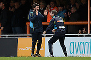 Braintree Town Manager Danny Cowley (left) celebrates the equaliser of Kenny Davis of Braintree Town to make the scoreline 1-1 with this Brother Nicky Cowley during the FA Cup match between Braintree Town and Oxford United at the Avanti Stadium, Braintree<br /> Picture by Richard Blaxall/Focus Images Ltd +44 7853 364624<br /> 08/11/2015