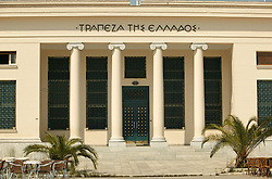 Greece Volos Monumental Entrance to a Branch the Greek National Bank Trapeza tis Ellados with Ionian Columns in Volos Greece Economy Banks. Photo By Imago/ i-Images