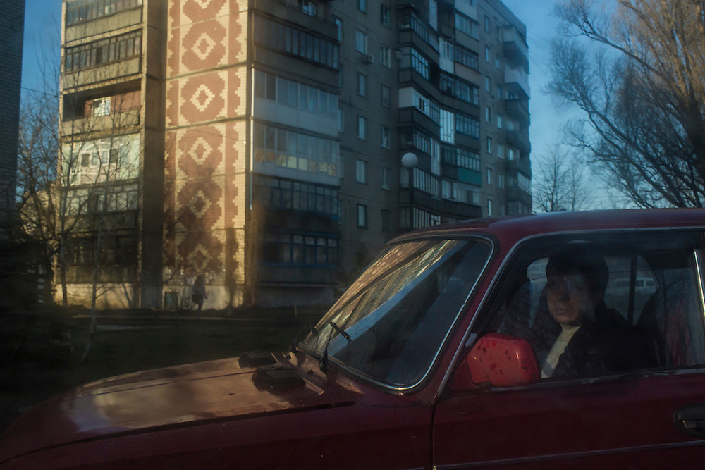 An early morning street scene on Tuesday, February 16, 2016 in Krasnoarmiisk, Ukraine.