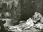 'Plague of London, 1665: Street scene with bodies lying ready for collection while a full death cart is being driven to the plague pits.  Engraving c1830.'
