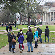 TUSCALOOSA,AL-JAN15: Prospective students on a campus tour at the University of Alabama in Tuscaloosa, January 15, 2016. The University of Alabama, founded in 1831, once served mainly Alabama students as the state's flagship institution. Now more than 60 percent of entering freshmen come from out of state. The university has had one of the largest shifts toward out-of-state enrollment in the country in the past decade. (Photo by Evelyn Hockstein/For The Washington Post)