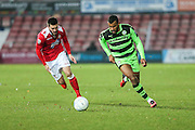 Forest Green Rovers Dan Wishart(17) runs forward during the Vanarama National League match between Wrexham FC and Forest Green Rovers at the Racecourse Ground, Wrexham, United Kingdom on 26 November 2016. Photo by Shane Healey.