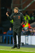 Steven Gerrard, manager of Rangers FC signals to his team during the Europa League Group G match between Rangers FC and BSC Young Boys at Ibrox Park, Glasgow, Scotland on 12 December 2019.