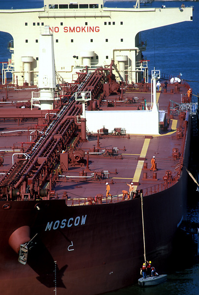 Aerial view of the tanker Moscow and it's crew