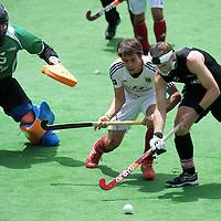 MELBOURNE - Champions Trophy men 2012<br /> Germany v New Zealand <br /> foto: Penalty corner defense New Zealand f.l.t.r: Hamish McGregor (kp) Benedikt Fuerk andDean Couzins.<br /> FFU PRESS AGENCY COPYRIGHT FRANK UIJLENBROEK