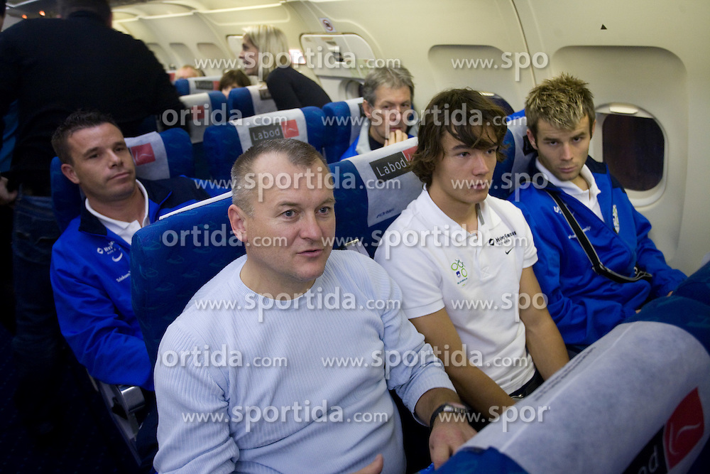 Anton Zlogar, Franc Kangler, Rene Krhin and  Elvedin Dzinic at airplane from Moscow to Maribor and Ljubljana after the FIFA World Cup South Africa 2010 Qualifying play-off match between Russia and Slovenia,  on November 14, 2009, in Moscow, Slovenia.   (Photo by Vid Ponikvar / Sportida)