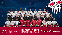 HANDOUT - German Bundesliga, official photocall RB Leipzig for season 2017/18 in Leipzig, Germany. Image shows 4th row: Marvin Compper, Stefan Ilsanker, Ibrahima Konate, Yussuf Poulsen, Lukas Klostermann, Dayot Upamecano, Willi Orban and Marcel Halstenberg; 3th row: Elias Abouchabaka, Bernardo Fernandes da Silva, Marcel Sabitzer, Oliver Jasen Burke, Timo Werner, Jean-Kevin Augustin, Emil Forsberg, Konrad Laimer and Benno Schmitz; 2nd row: video analyst Fabian Friedrich, video analyst Daniel Ackermann, assistant coach Danny Roehl, goalkeeper coach Frederik Goessling, head coach Ralph Hasenhuettl, assistant coach Zsolt Loew, athletic coach Kai Kraft, athletic coach Nicklas Dietrich and assistant coach Sascha Lense; 1st row: Federico Palacios Martinez, Dominik Kaiser, Bruma, Philipp Koehn, Yvon Mvogo, Peter Gulacsi, Fabio Coltorti, Diego Demme, Naby Keita and Nicolas Kuehn (RB Leipzig). Photo: GEPA pictures/ RB Leipzig - For editorial use only. Image is free of charge.  ATTENTION: use only for editorial purposes in conjunction with full source indication. | usage worldwide