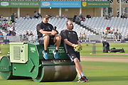 Paul Franks and Luke Fletcher before the NatWest T20 Blast Quarter Final match between Notts Outlaws and Somerset County Cricket Club at Trent Bridge, West Bridgford, United Kingdom on 24 August 2017. Photo by Simon Trafford.