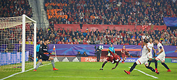 SEVILLE, SPAIN - Tuesday, November 21, 2017: Liverpool's Sadio Mane scores the second goal during the UEFA Champions League Group E match between Sevilla FC and Liverpool FC at the Estadio Ramón Sánchez Pizjuán. (Pic by David Rawcliffe/Propaganda)