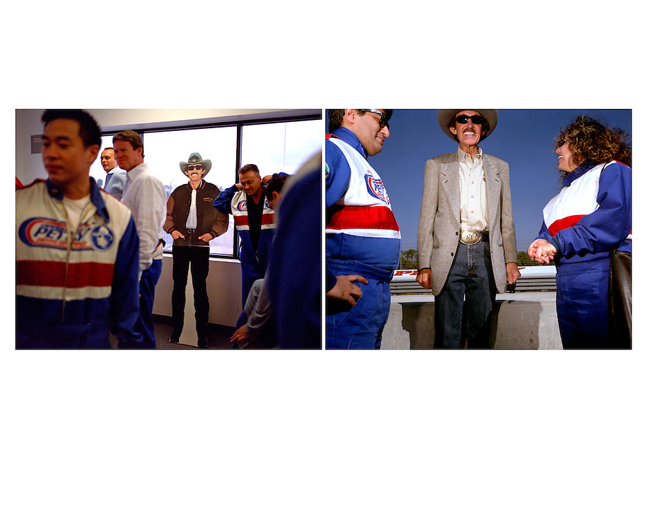 Richard Petty, NASCAR driver, Buena Vista, Florida, 2005:..In likeness and thickness both, Richard Petty-the-man resembles nothing so much as Richard Petty-the-cardboard-cutout. A cardboard cut-out of NASCAR champion Richard Petty stands ignored by the men suiting themselves up into driving smocks in preparation for NASCAR driving school at the Richard Petty Driving Experience in Walt Disney World's The Magic Kingdom.  Fans of racing can ride-along a racetrak with a driver or choose to enroll in the school and race their own car around the track. In the second picture, the living Richard Petty poses with fans during a paid promotional appearance for ESPN..Photo by Susana Raab