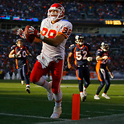 Kansas City Chiefs tight end Tony Gonzalez tiptoed into the end zone on a 15-yard touchdown pass in the first quarter for the only team highlight in the 41-7 loss to the Denver Broncos on December 9, 2007, at Invesco Field at Mile High Stadium in Denver, CO.