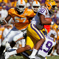 Oct 2, 2010; Baton Rouge, LA, USA; LSU Tigers wide receiver Russell Shepard (10) runs with the ball during the first half against the Tennessee Volunteers at Tiger Stadium.  Mandatory Credit: Derick E. Hingle