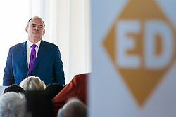 London, UK. 30 May, 2019. Ed Davey, Liberal Democrat MP for Kingston and Surbiton and former Secretary of State for Energy and Climate Change, makes a speech in central London as he launches his campaign for the party leadership following excellent results for the party in the recent European and local elections.