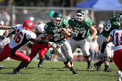 04 October 2008: Bo Lanter makes a cut right to avoid the Red Men defense in a battle between the Carthage Red Men and the Illinois Wesleyan University Titans, Game action was at Wilder Field on the campus of Illinois Wesleyan University in Bloomington Illinois.