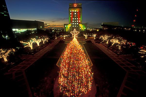 Stock photo of the Houston City Hall Christmas tree lit up at night