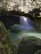 Natural Bridge waterfall on Cave Creek, Springbrook National Park, Queensland, Australia.