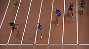 Mar 5, 2017; Albuquerque, NM, USA; Kendra Harrison aka Keni Harrison defeats Jasmin Stowers to win the women's 60m hurdles, 7.81 to 7.82, during the USA Indoor Championships at the Albuquerque Convention Center.