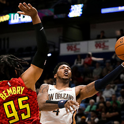 Mar 26, 2019; New Orleans, LA, USA; New Orleans Pelicans guard Elfrid Payton (4) shoots over Atlanta Hawks forward DeAndre' Bembry (95) during the second half at the Smoothie King Center. Mandatory Credit: Derick E. Hingle-USA TODAY Sports