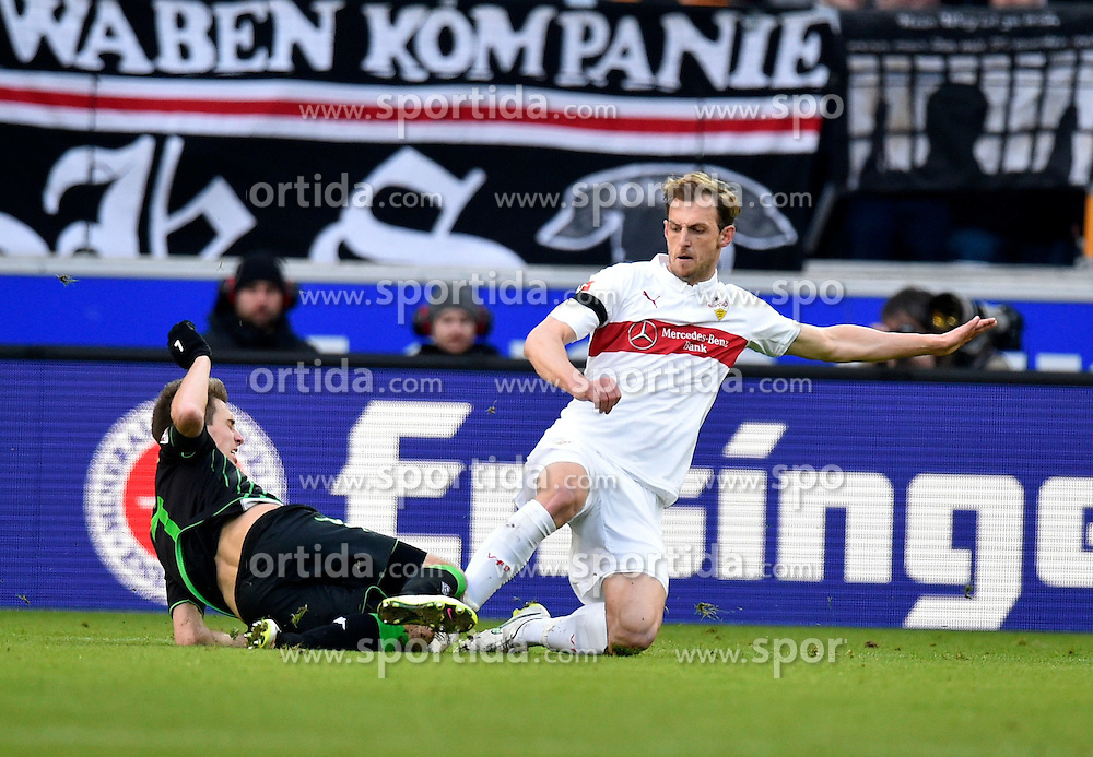 31.01.2015, Mercedes Benz Arena, Stuttgart, GER, 1. FBL, VfB Stuttgart vs Borussia Moenchengladbach, 18. Runde, im Bild Zweikampf Aktion Georg Niedermeier VfB Stuttgart (rechts) gegen Patrick Herrmann Borussia Moenchengladbach (links) // during the German Bundesliga 18th round match between VfB Stuttgart and Borussia Moenchengladbach at the Mercedes Benz Arena in Stuttgart, Germany on 2015/01/31. EXPA Pictures &copy; 2015, PhotoCredit: EXPA/ Eibner-Pressefoto/ Weber<br /> <br /> *****ATTENTION - OUT of GER*****